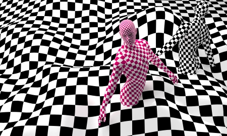body paint: Checkered composition with Black end Red checkered people made in 3d Stock Photo