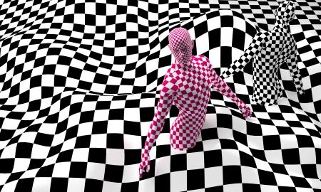 body paint: Composici?n de cuadros negros con punta roja a cuadros realizados en personas 3d