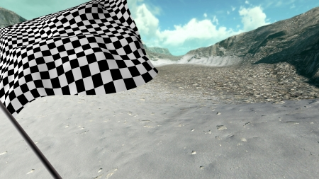 sidecar motocross racing:  Large Checkered Flag with fabric surface texture with landscape background
