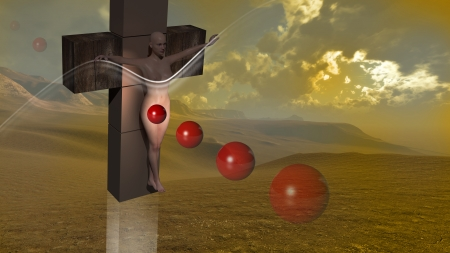 Woman  crucified end red balls  made in 3d software  photo