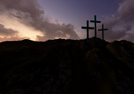 crucify: Dramatic sky silhouettes three wooden crosses with shafts of sunlight breaking through the clouds