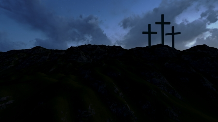 good friday: Dramatic sky silhouettes three wooden crosses with shafts of sunlight breaking through the clouds