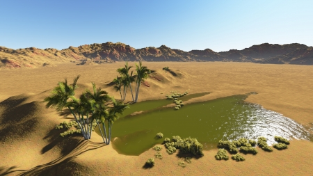 Oasis in the desert made in 3d software photo