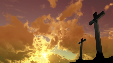 crosses  silhouette with the sunset as background photo
