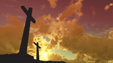 almighty: crosses  silhouette with the sunset as background