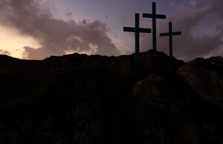viernes santo: Dram�tico cielo siluetas de tres cruces de madera con los rayos de sol entre las nubes Foto de archivo