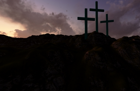 holy week: Dramatic sky silhouettes three wooden crosses with shafts of sunlight breaking through the clouds