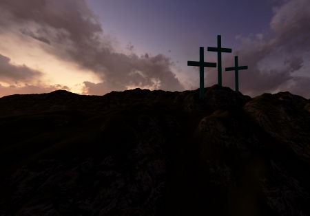 resurrection of jesus: Dramatic sky silhouettes three wooden crosses with shafts of sunlight breaking through the clouds
