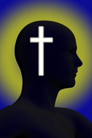mature men: Silhouette of a mans head with glowing cross on it made in 3d software
