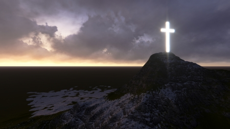 jesus statue: glowing wooden cross   made in 3d software Stock Photo