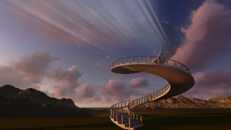 Trap naar de hemel gemaakt in 3D-software