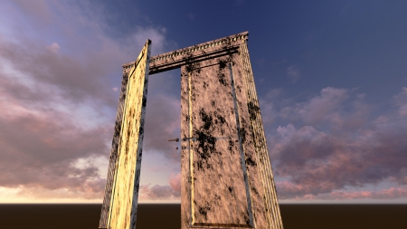 Door to new reality made in 3d software photo