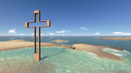 cross in water with shadow mad ein 3d software