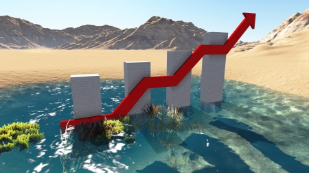 business graph monument under blue sky made in 3d software Stock Photo