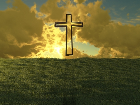 Christian cross against the sky made in 3d software