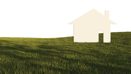 House in green field made in 3d software photo