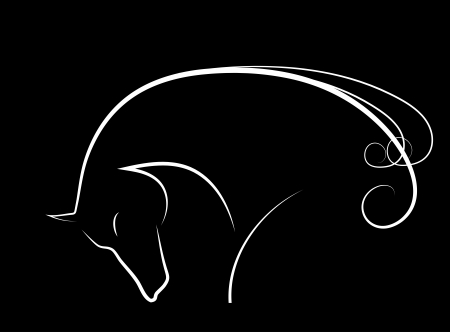 Elegant horse done in black-white a minimal style Stock Photo