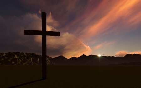 lent: Dramatic sky silhouettes three wooden crosses with shafts of sunlight breaking through the clouds