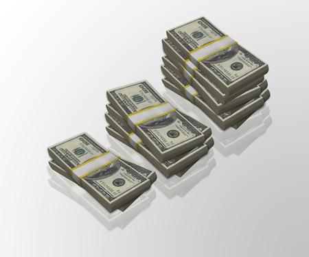 increasingly: Increasingly higher stacks of 100 dollar bills, Made in 3d Stock Photo