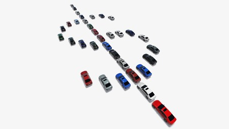 High resolution render of 3D cars forming dollar symbol photo
