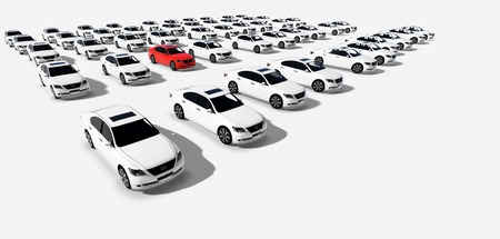 Hundreds of Cars, One Red made in 3d