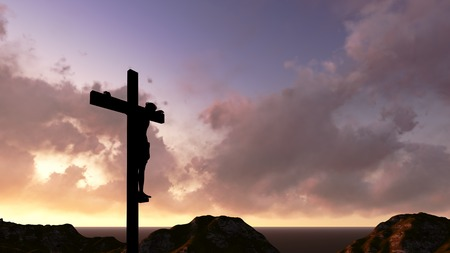 the passion of christ: A crucifix silhouette set against a dramatic sky. Stock Photo