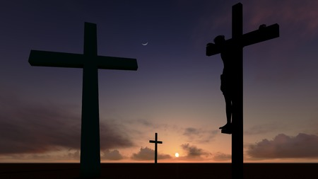 crucify: A crucifix silhouette set against a dramatic sky. Stock Photo