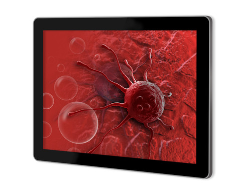 micro organism: cloud of micro organism show on tablet Stock Photo