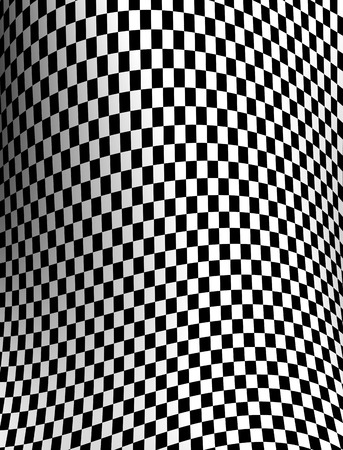 Black-white checkered plane made in 3d photo