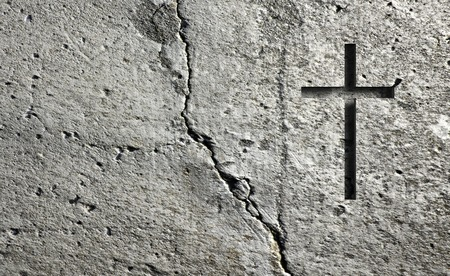 Old Wall With Cross made in 3d Stock Photo