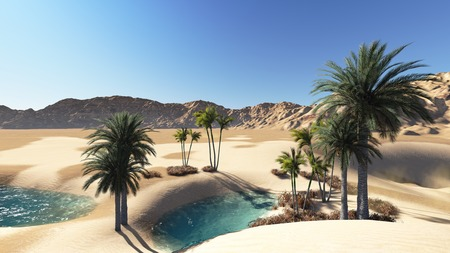 Oasis in the desert made in 3d Stock Photo