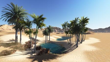 Oasis in the desert made in 3d 版權商用圖片