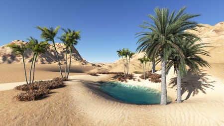 Oasis in the desert made in 3d photo