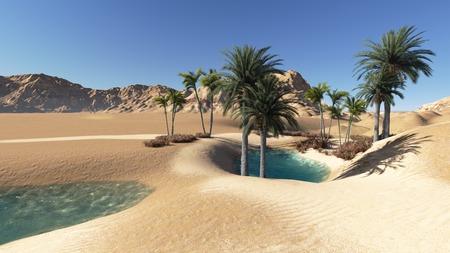 3D로 만든 사막의 오아시스 스톡 콘텐츠
