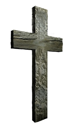 Cross made from wood  isolated on white Stock Photo