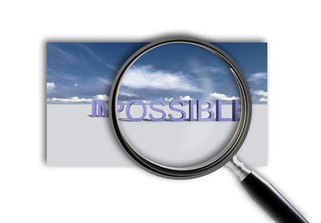 Close up of magnifying glass on impossible made in 3d software photo