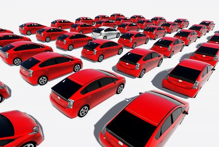 Hundreds of red cars, One white  made in 3d software photo