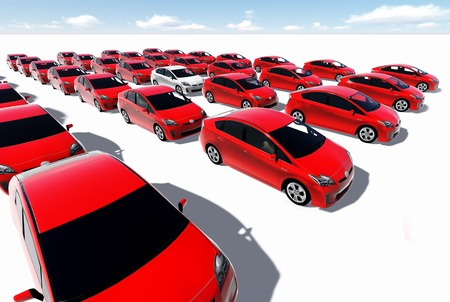 Hundreds of red cars, One white made in 3d photo