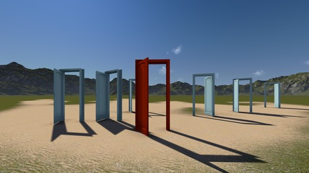 Open doors - welcome and choices, opportunity concept