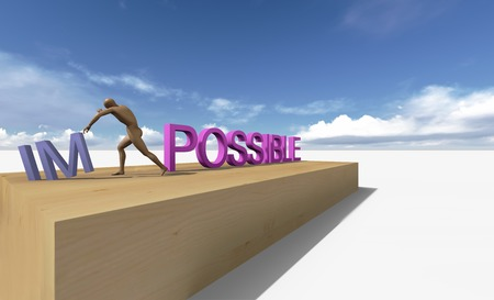 Make it possible Motivational concept made in 3d photo