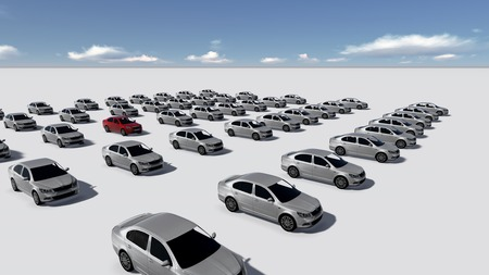 Hundreds of Cars, One Red made in 3d photo