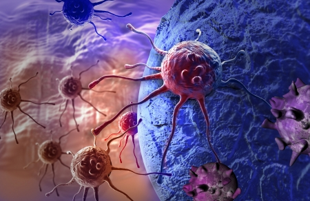 cancer cell made in 3d software Banco de Imagens - 25554729