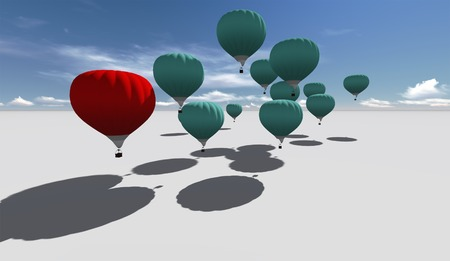 The Leader red hot air balloons against blue sky made in 3d software photo