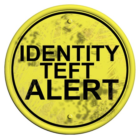 warning sign isolated on white with word Identity Theft alert photo