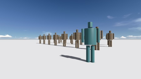 Standing Out From The Crowd made in 3d software Stock Photo - 26162038