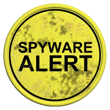 A yellow and black sign with the word Spyware alert isolated on a white  photo