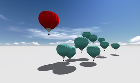 The Leader red hot air balloons against blue sky made in 3d software