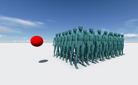 Standing Out From The Crowd made in 3d software Stock Photo - 26162058