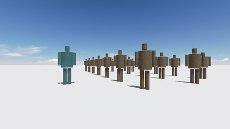 Standing Out From The Crowd made in 3d software Stock Photo - 26162074
