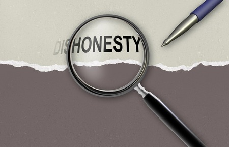 changing the word dishonesty for honesty  and magnifying glass made in 2d software photo